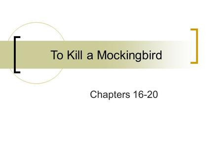 To Kill a Mockingbird Chapters 16-20.