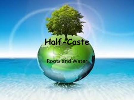 Half-Caste Roots and Water. M.L.O To explode the poem and plan your essay.