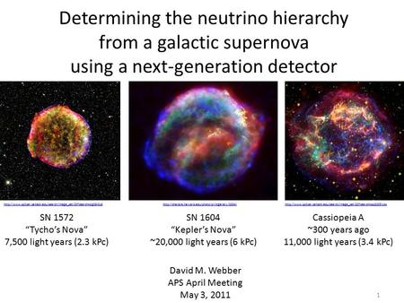 "Determining the neutrino hierarchy from a galactic supernova using a next-generation detector David M. Webber APS April Meeting May 3, 2011 SN 1572 ""Tycho's."