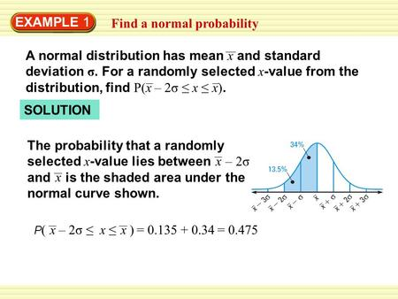 EXAMPLE 1 Find a normal probability SOLUTION The probability that a randomly selected x -value lies between – 2σ and is the shaded area under the normal.