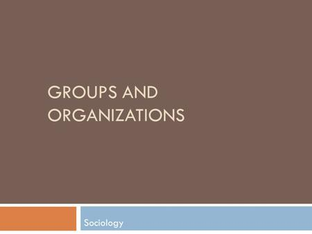 GROUPS AND ORGANIZATIONS Sociology. Lesson Outline Introduction to Sociology: Life in Groups 2  What is a Group?  Social Networks  Anomie  Group Dynamics.