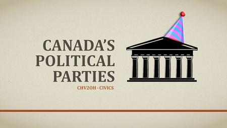 CANADA'S POLITICAL PARTIES CHV2OH - CIVICS. CANADA'S MAJOR FEDERAL POLITICAL PARTIES NDP Bloc Quebecois Green Progressive Conservatives Liberal Conservatives.