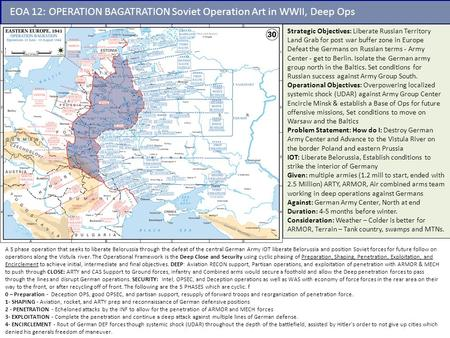 EOA 12: OPERATION BAGATRATION Soviet Operation Art in WWII, Deep Ops Strategic Objectives: Liberate Russian Territory Land Grab for post war buffer zone.
