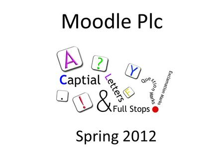 Moodle Plc Spring 2012. What is Moodle? Moodle is a virtual learning environment. It can be used as a depository of resources or as an interactive teaching.