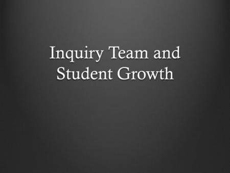"Inquiry Team and Student Growth. ""Best"" Practices Think about some best practices within the last 20 years in the field of science. In the field of education,"