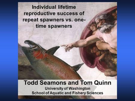 Todd Seamons and Tom Quinn University of Washington School of Aquatic and Fishery Sciences Individual lifetime reproductive success of repeat spawners.