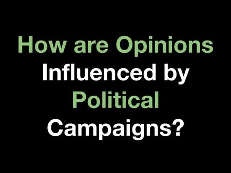 How are Opinions Influenced by Political Campaigns?
