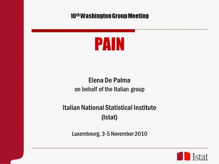 10 th Washington Group Meeting PAIN Elena De Palma on behalf of the Italian group Italian National Statistical Institute (Istat) Luxembourg, 3-5 November.