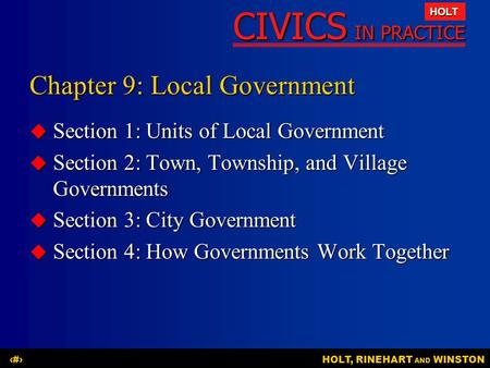 Chapter 9: Local Government