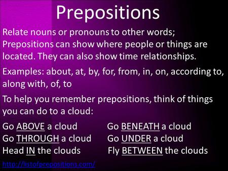 Prepositions Relate nouns or pronouns to other words; Prepositions can show where people or things are located. They can also show time relationships.