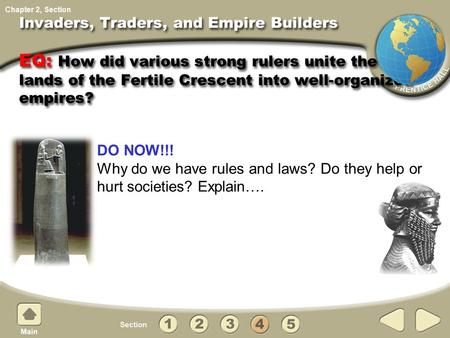 Invaders, Traders, and Empire Builders EQ: How did various strong rulers unite the lands lands of the Fertile Crescent into well-organized empires? DO.