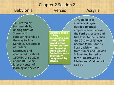 Chapter 2 Section 2 Babylonia verses Assyria 1. Created by Hammurabi by uniting cities of Sumer and conquering lands all the way to Asia Minor, 2. Crossroads.