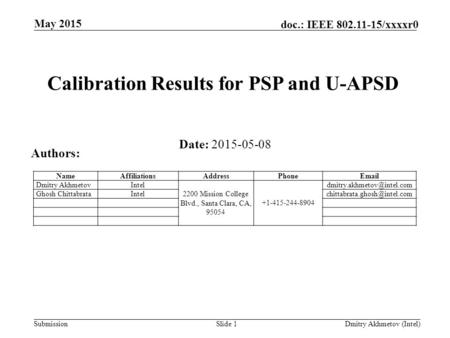 Submission doc.: IEEE 802.11-15/xxxxr0 May 2015 Slide 1 Dmitry Akhmetov (Intel) Calibration Results for PSP and U-APSD Date: 2015-05-08 Authors: NameAffiliationsAddressPhoneEmail.