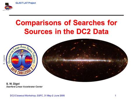 GLAST LAT Project DC2 Closeout Workshop, GSFC, 31 May-2 June 2006 1 Comparisons of Searches for Sources in the DC2 Data S. W. Digel Stanford Linear Accelerator.