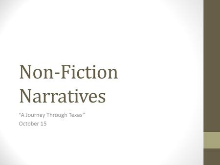 Non-Fiction Narratives