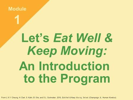 Let's Eat Well & Keep Moving: An Introduction to the Program Module 1 From L.W.Y Cheung, H. Dart, S. Kalin, B. Otis, and S.L. Gortmaker, 2016, Eat Well.
