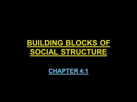 BUILDING BLOCKS OF SOCIAL STRUCTURE CHAPTER 4:1. BUILDING BLOCKS OF SOCIAL STRUCTURE Social structure- the network of interrelated statuses and roles.