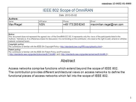 Omniran-13-0032-01-0000 1 IEEE 802 Scope of OmniRAN Date: 2013-05-02 Authors: NameAffiliationPhone Max RiegelNSN+49 173 293
