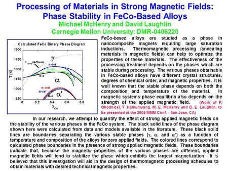 Processing of Materials in Strong Magnetic Fields: Phase Stability in FeCo-Based Alloys Michael McHenry and David Laughlin Carnegie Mellon University:
