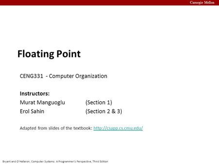 Floating Point CENG331 - Computer Organization Instructors: