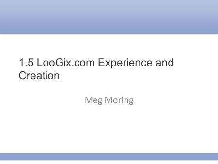 1.5 LooGix.com Experience and Creation Meg Moring.