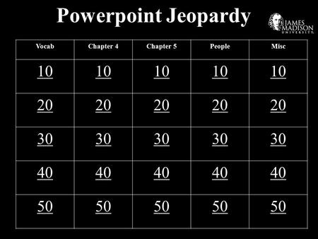 Powerpoint Jeopardy VocabChapter 4Chapter 5PeopleMisc 10 20 30 40 50.