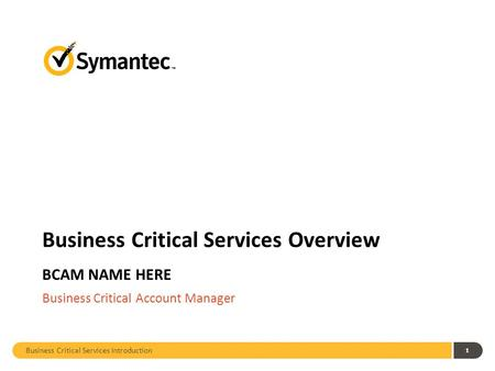 Business Critical Services Introduction 1 Business Critical Services Overview BCAM NAME HERE Business Critical Account Manager.