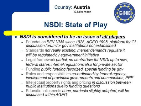 NSDI: State of Play NSDI is considered to be an issue of all players – Foundation BEV NMA since 1925, AGEO 1998, plattform for GI, discussion forum for.