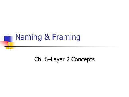 Naming & Framing Ch. 6–Layer 2 Concepts. Layer 2's Job For every limitation of Layer 1, Layer 2 has a solution. Layer 1 cannot name computers. How does.