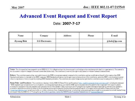 Doc.: IEEE 802.11-07/2155r0 Submission May 2007 Jiyoung et al.Slide 1 Advanced Event Request and Event Report Notice: This document has been prepared to.
