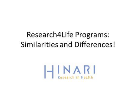 Research4Life Programs: Similarities and Differences!