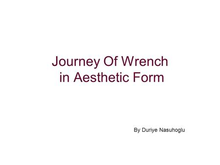 Journey Of Wrench in Aesthetic Form By Duriye Nasuhoglu.