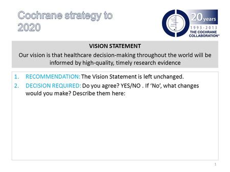 VISION STATEMENT Our vision is that healthcare decision-making throughout the world will be informed by high-quality, timely research evidence 1.RECOMMENDATION: