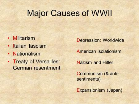Major Causes of WWII Militarism Italian fascism Nationalism Treaty of Versailles: German resentment Depression: Worldwide American isolationism Nazism.
