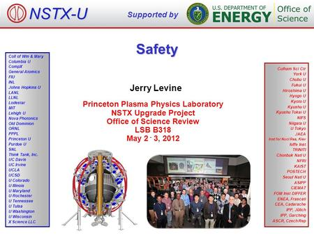 Safety Jerry Levine Princeton Plasma Physics Laboratory NSTX Upgrade Project Office of Science Review LSB B318 May 2 - 3, 2012 NSTX-U Supported by Culham.