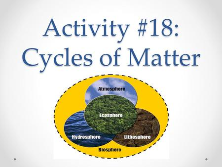 Activity #18: Cycles of Matter. EQ How do Earth's biotic and abiotic factors interact to shape ecosystems and affect the survival of organisms over time?