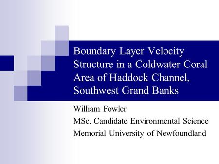 Boundary Layer Velocity Structure in a Coldwater Coral Area of Haddock Channel, Southwest Grand Banks William Fowler MSc. Candidate Environmental Science.