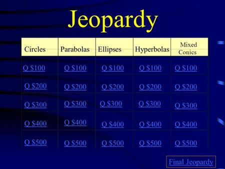 Jeopardy CirclesParabolasEllipsesHyperbolas Mixed Conics Q $100 Q $200 Q $300 Q $400 Q $500 Q $100 Q $200 Q $300 Q $400 Q $500 Final Jeopardy.