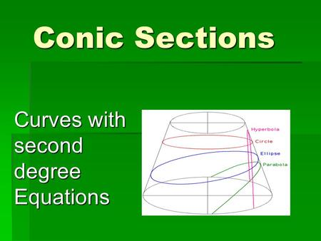 Conic Sections Curves with second degree Equations.