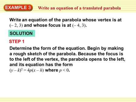 EXAMPLE 3 Write an equation of a translated parabola Write an equation of the parabola whose vertex is at (– 2, 3) and whose focus is at (– 4, 3). SOLUTION.