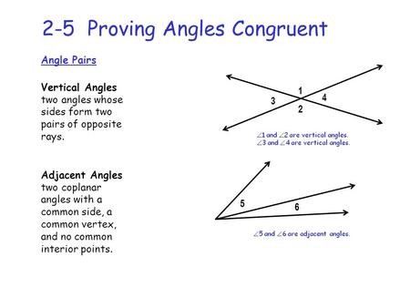 2-5 Proving Angles Congruent Angle Pairs Vertical Angles two angles whose sides form two pairs of opposite rays. 1 2 3 4 Adjacent Angles two coplanar angles.