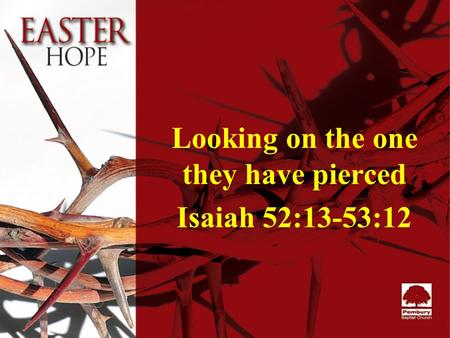 Looking on the one they have pierced Isaiah 52:13-53:12.
