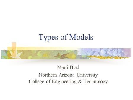 Types of Models Marti Blad Northern Arizona University College of Engineering & Technology.