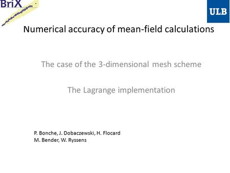 Numerical accuracy of mean-field calculations The case of the 3-dimensional mesh scheme The Lagrange implementation P. Bonche, J. Dobaczewski, H. Flocard.