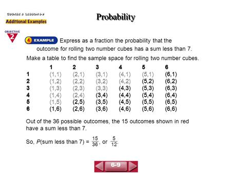 Express as a fraction the probability that the outcome for rolling two number cubes has a sum less than 7. Probability COURSE 3 LESSON 6-9 Make a table.