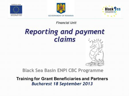 Reporting and payment claims Black Sea Basin ENPI CBC Programme Training for Grant Beneficiaries and Partners Bucharest 18 September 2013 Financial Unit.