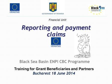 Reporting and payment claims Black Sea Basin ENPI CBC Programme Training for Grant Beneficiaries and Partners Bucharest 18 June 2014 Financial Unit.