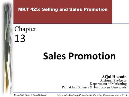 MKT 425: Selling and Sales Promotion