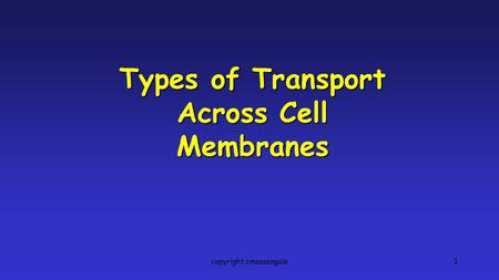 1 Types of Transport Across Cell Membranes copyright cmassengale.
