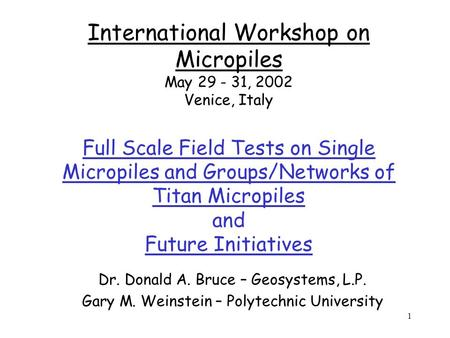1 International Workshop on Micropiles May 29 - 31, 2002 Venice, Italy Full Scale Field Tests on Single Micropiles and Groups/Networks of Titan Micropiles.